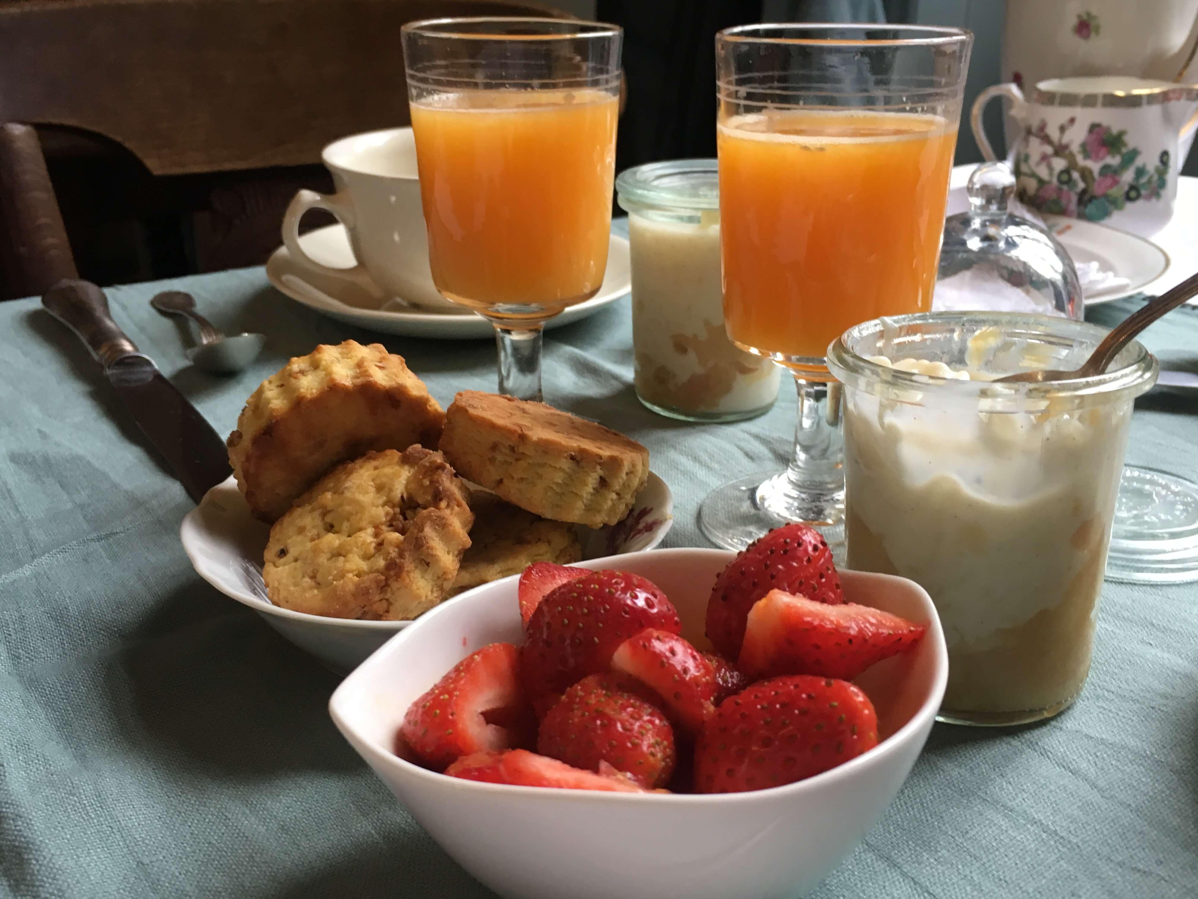Détail petit déjeuners manoir de la villeneuve